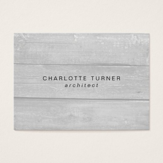 Trendy Simple Minimalist Grey Wood Professional Business Card