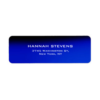 Trendy Simple Plain Blue Black Elegant Modern Return Address Label