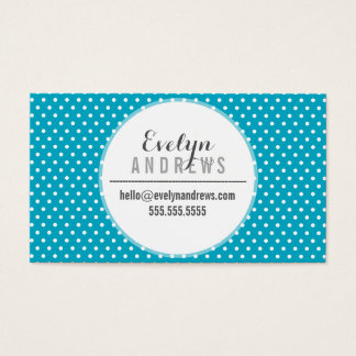 TRENDY SIMPLE SPOT mini polka dot cute turquoise Business Card