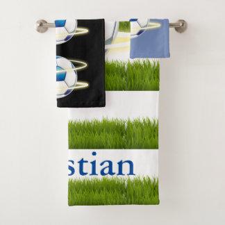 Trendy Soccer Ball Monogram Bath Towel Set