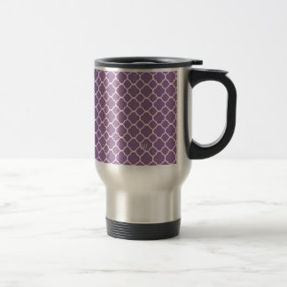Trendy soft purple white quatrefoil pattern travel mug
