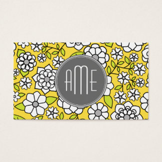 Trendy Spring Floral Illustration gray and yellow