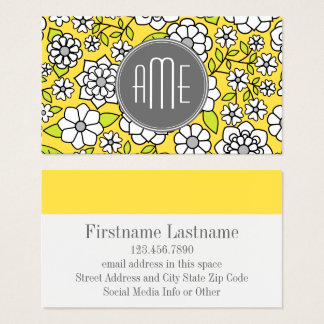 Trendy Spring Floral Illustration gray and yellow Business Card