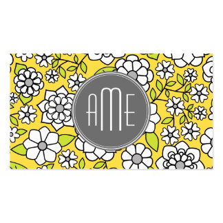 Trendy Spring Floral Illustration gray and yellow Pack Of Standard Business Cards