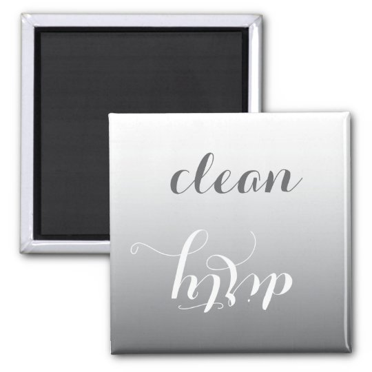Trendy Steel Grey Clean or Dirty Dishwasher Magnet