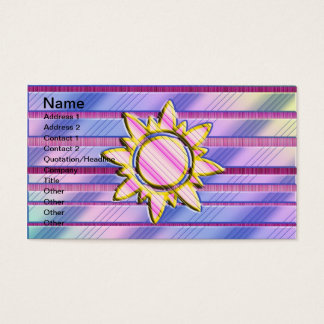 Trendy Striped Pastel Sun Business Card