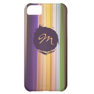 Trendy striped pattern & custom monogram iPhone 5C case