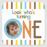 Trendy Stripes Look Who's Turning One Square Stickers