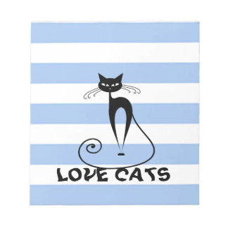 Trendy stripes whimsical funny cat notepad