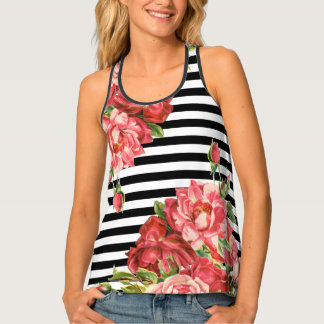 Trendy stripes with roses tank top
