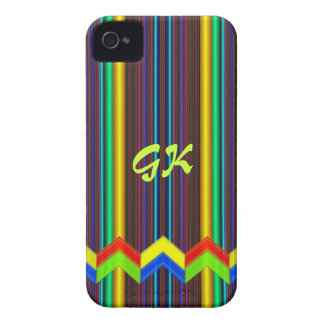 Trendy stripes, zigzag, monogram iPhone 4 cover