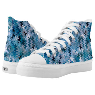 Trendy Stylish Blue Brown Pink Pattern High Tops