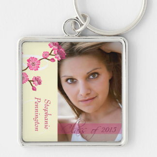 Trendy stylish cherry blossom photo graduation Silver-Colored square key ring
