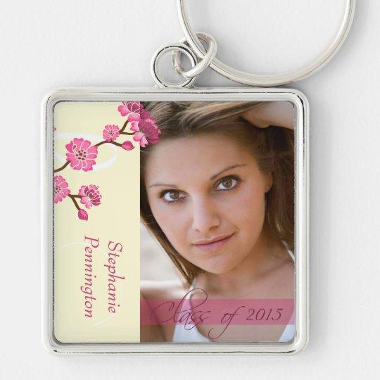 Trendy stylish cherry blossom photo graduation Silver-Colored square key ring