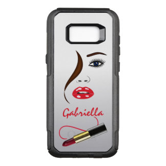 Trendy Stylish Face and Red Lipstick Kiss Mirror OtterBox Commuter Samsung Galaxy S8+ Case