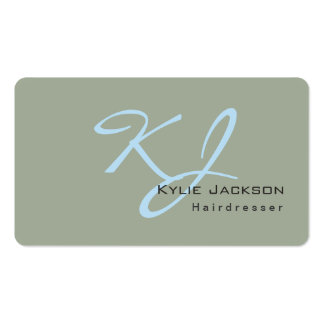 Trendy Stylish Monogram Grey Blue Hairdresser Pack Of Standard Business Cards