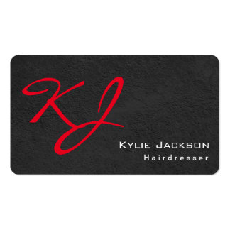 Trendy Stylish Monogram Grey Red Hairdresser Pack Of Standard Business Cards