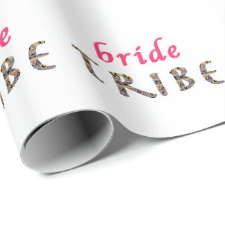trendy stylish pink gold bride tribe patter wrapping paper