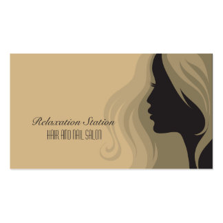 Trendy stylish silhouette salon spa business card