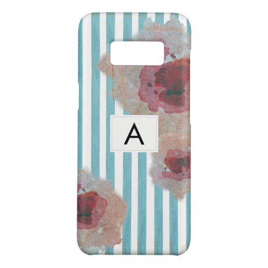 Trendy Stylish Striped Boho Chic Monogramed Floral Case-Mate Samsung Galaxy S8 Case