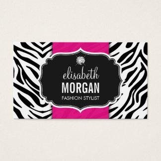 Trendy Stylish Zebra Print Diamond Girly Hot Pink