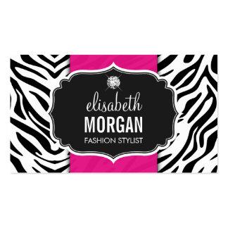 Trendy Stylish Zebra Print Diamond Girly Hot Pink Pack Of Standard Business Cards
