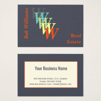 Trendy Stylized Real Estate Charcoal Monogram Business Card