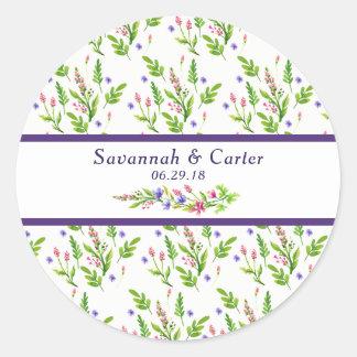 Trendy Summer Flowers Wedding Sticker