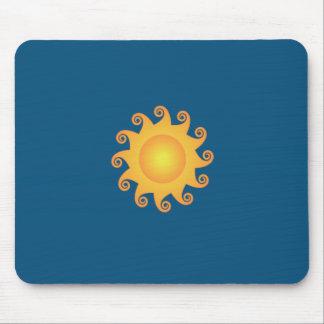 Trendy sun blue monogram mouse pads