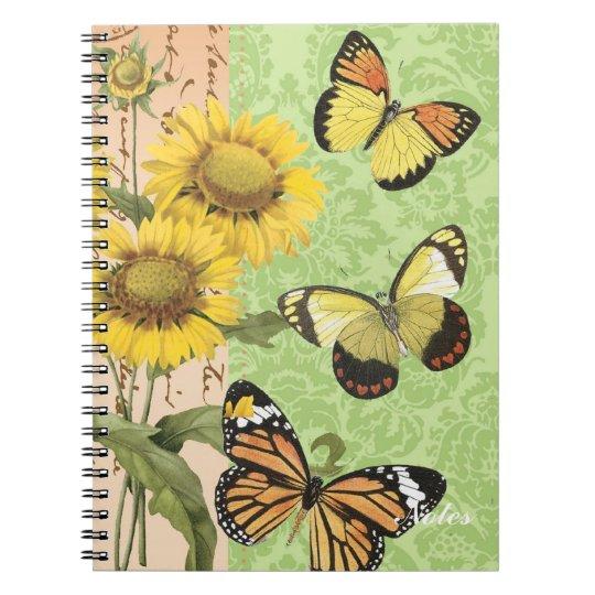 Trendy Sunflowers and Butterflies notebook