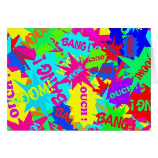 Trendy Superhero Comic Bubble Speech Neon Colors Card