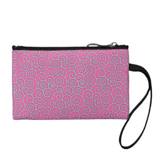 Trendy Swirly Pastel Pink and Blue Abstract Coin Purse