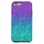 Trendy Swirly Wavy Teal and Bright PInk Abstract