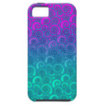 Trendy Swirly Wavy Teal and Bright PInk Abstract Case For The iPhone 5