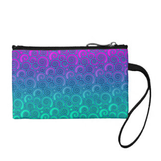 Trendy Swirly Wavy Teal and Bright PInk Abstract Coin Purse