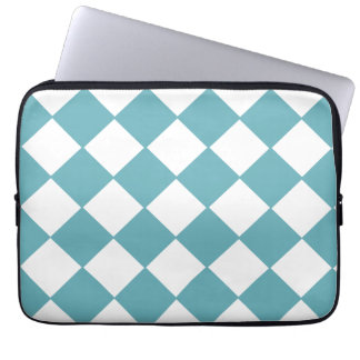 Trendy Teal And White Checkerboard Pattern Laptop Sleeve