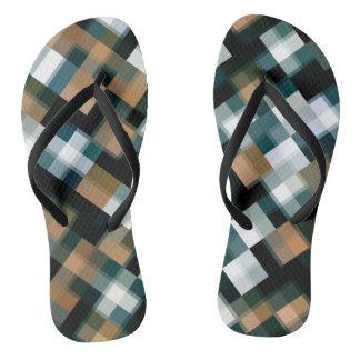 Trendy Teal Brown Black White Plaid Flip Flops