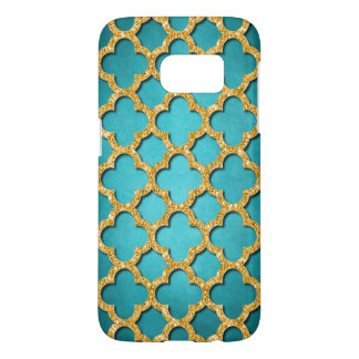 Trendy Teal Faux Shiny Gold Glitter Mosaic Pattern