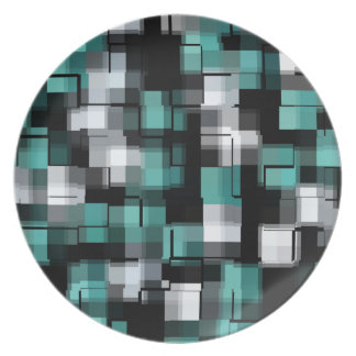 Trendy Teal Green Blue Black White Abstract Plaid Plate