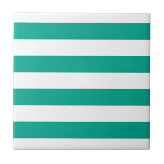 Trendy Teal Striped Pattern.ai Small Square Tile