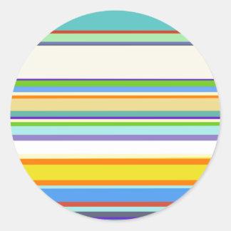 Trendy Teal Stripey Design Round Sticker