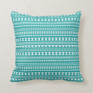 Trendy Teal Tribal Aztec Pattern Throw Pillow
