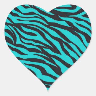 Trendy Teal Turquoise Black Zebra Stripes Heart Sticker