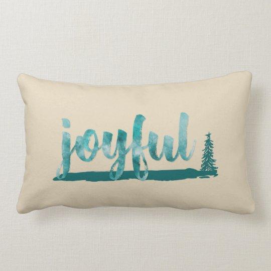 Trendy Teal Watercolor Joyful Brush Script Lumbar Cushion