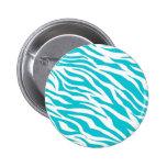 Trendy Teal White Zebra Stripes Wild Animal Prints Pinback Button