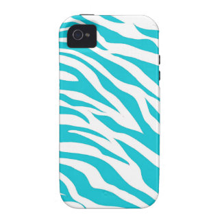 Trendy Teal White Zebra Stripes Wild Animal Prints iPhone 4/4S Cases