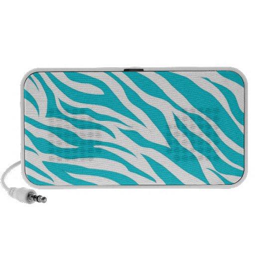 Trendy Teal White Zebra Stripes Wild Animal Prints Travelling Speakers
