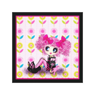 Trendy Teen Girl Fashion Doll PinkyP Stretched Canvas Print