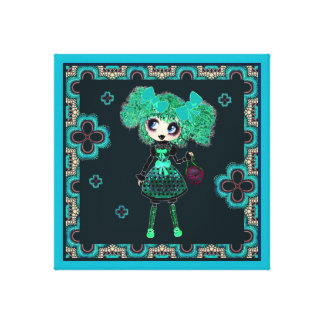 Trendy Teen Girl Gothic PinkyP Emerald Gallery Wrap Canvas