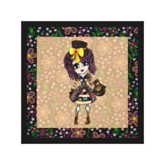 Trendy Teen Girl steampunk PinkyP personalized Gallery Wrapped Canvas